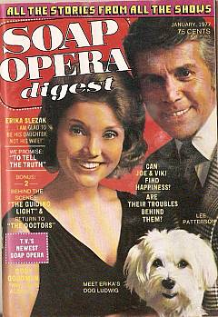 January 1977 issue of Soap Opera Digest featuring One Life To Live co-stars Erika Slezak & Lee Patterson on the cover
