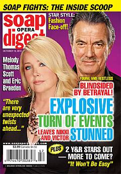 Soap Opera Digest from October 2010 featuring Y&R's Melody Thomas Scott & Eric Braeden on the cover