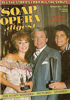 November 1977 issue of Soap Opera Digest featuring Bill Hayes, Susan Seaforth Hayes & Merv Griffin on the cover