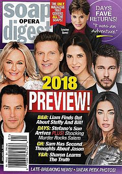 January 1, 2018 issue of Soap Opera Digest magazine