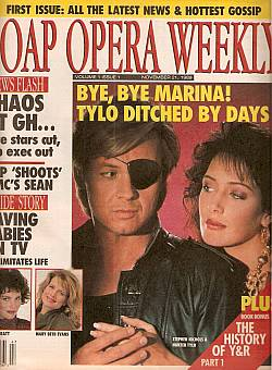 The first issue ever published of Soap Opera Weekly magazine, dated November 21, 1989