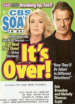 November 22, 2010 issue of CBS Soaps In Depth magazine featuring Y&R stars, Melody Thomas Scott and Eric Braeden, on the cover