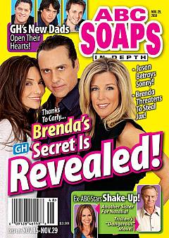 ABC Soaps In Depth dated November 29, 2010 featuring Vanessa Marcil, Maurice Benard & Laura Wright of General Hospital on the cover