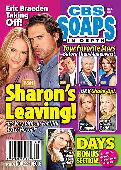 CBS Soaps In Depth dated December 6, 2010 featuring Y&R co-stars, Sharon Case & Joshua Morrow, on the cover