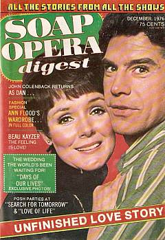 December 1976 issue of Soap Opera Digest with Kathryn Hays & John Colenback of As The World Turns on the cover