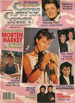 April 1986 issue of Super Stars magazine presented by Teen Beat