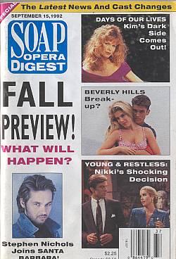 Soap Opera Digest September 15, 1992