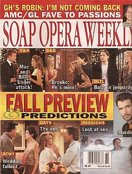 Soap Opera Weekly September 4, 2001