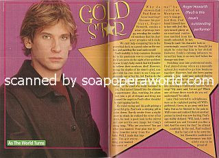 Gold Star Performer:  Roger Howarth (Paul Ryan on As The World Turns)