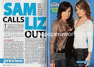 General Hospital Cover Story featuring Kelly Monaco & Rebecca Herbst (Sam and Liz on GH)
