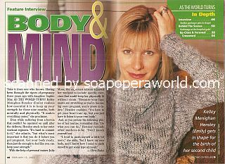 Interview with Kelley Menighan Hensley (Emily on the soap opera, As The World Turns)