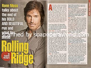 Interview with Ronn Moss (Ridge Forrester on The Bold & The Beautiful)