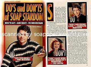 The Do's and Don'ts of Soap Stardom