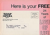 Mailing Envelope for the 1975 Love Of Life Free Booklet from Soap Opera Digest