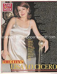 Star Of The Week:  Lisa LoCicero of The City (Lisa plays Jocelyn Brown on ABC soap opera, The City)