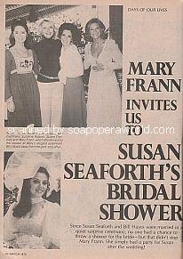 Mary Frann Invites Us To Susan Seaforth's Bridal Shower
