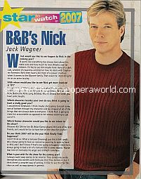 Star To Watch In 2007:  Jack Wagner (Nick on The Bold and The Beautiful)
