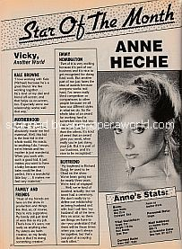 Star Of The Month Anne Heche (Vicky on the NBC soap opera, Another World)