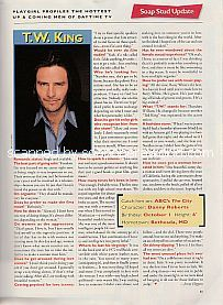 Interview with T.W. King (Danny Roberts on the ABC soap opera, The City)