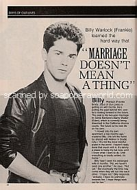 Interview with Billy Warlock about is marriage to Marcy Walker