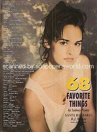 68 Favorite Things by Sydney Penny (B.J. Walker on Santa Barbara)