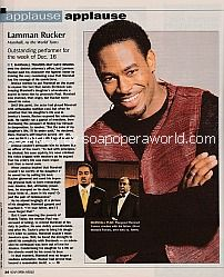 Applause, Applause for Lamman Rucker (Marshall on As The World Turns)