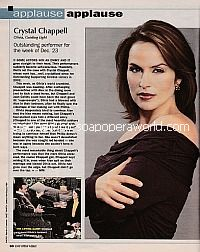 Applause, Applause for Crystal Chappell (Olivia on Guiding Light)