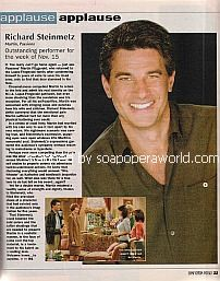 Applause, Applause for Richard Steinmetz (Martin on the soap opera, Passions)
