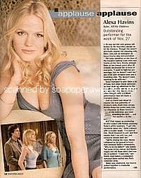 Applause, Applause for Alexa Havins (Babe on All My Children)