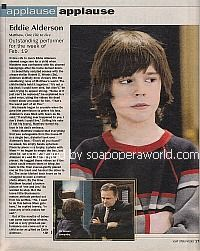 Applause, Applause for Eddie Alderson (Matthew on One Life To Live)