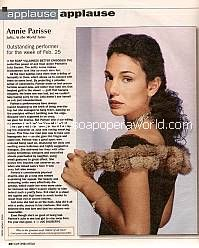 Applause, Applause for Annie Parisse (Julia on As The World Turns)