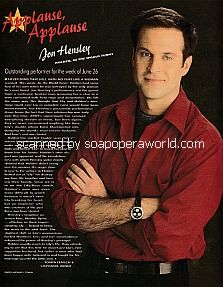 Applause, Applause for Jon Hensley of As The World Turns