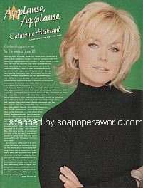 Applause for Catherine Hickland of One Life To Live