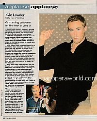 Applause, Applause for Kyle Lowder of Days Of Our Lives