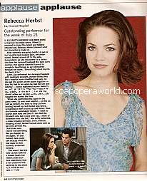 Applause, Applause for Rebecca Herbst (Liz on General Hospital)