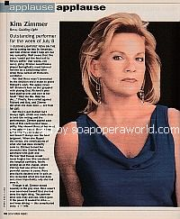 Applause, Applause for Kim Zimmer (Reva on Guiding Light)